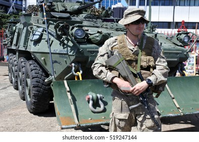 AUCKLAND - NOV 20 2016:New Zealand military soldier. The New Zealand Army comprises around 4,500 Regular Force personnel, 2,000 Territorial Force personnel and 500 civilians.