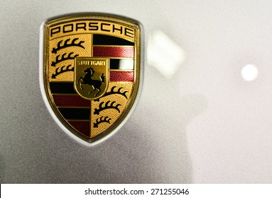 AUCKLAND - NOVEMBER 9 : Closed up of Porsche sign on new GT3 at Big Boys toys 2014, on Nov. 9, 2014 in Auckland, New Zealand.
