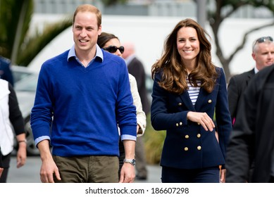 AUCKLAND, NZ - APRIL 11: Duke and Duchess of Cambridge (Prince William and Kate Middleton) visit Auckland's Viaduct Harbour during their New Zealand tour on April 11, 2014 in Auckland, New Zealand.