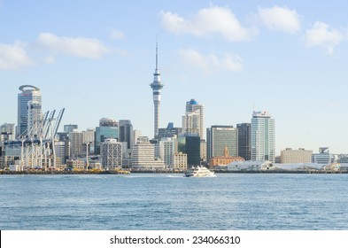 AUCKLAND, NZ - AUGUST 7: The beautiful Auckland city in the evening with skyscraper. Auckland has been rated one of the world's top 10 cities to visit. August, 2013 Auckland, New Zealand