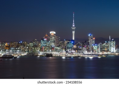 AUCKLAND, NZ - AUGUST 7: The beautiful Auckland city at night with skyscraper. Auckland has been rated one of the world's top 10 cities to visit. August, 2013 Auckland, New Zealand