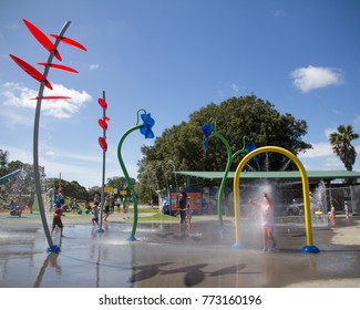 AUCKLAND NZ, FEB 4: Young Children Playing at Potters Park in Auckland New Zealand Feb 4 2017