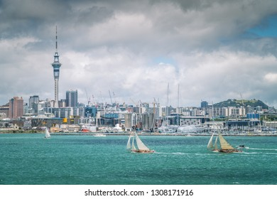 AUCKLAND, NZ - JAN 28:  Two Boats Racing in Auckland Anniversary Weekend  Sailing Regatta on Auckland Harbour Jan 28 2019
