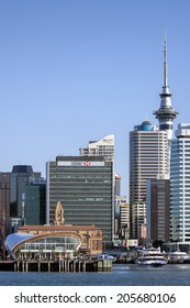 AUCKLAND, NZ - JUN 13: Auckland Cruise Port terminal and skyline.  Auckland has been rated one of the world's top 10 cities to visit by travel bible Lonely Planet. June 13, 2014 Auckland, New Zealand