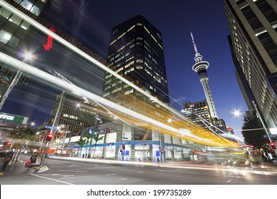 AUCKLAND, NZ - JUN 13: Auckland downtown at night.  Auckland has been rated one of the world's top 10 cities to visit by travel bible Lonely Planet. June 13, 2014 Auckland, New Zealand