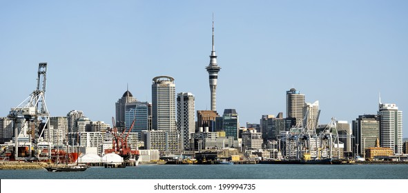 AUCKLAND, NZ - JUN 13: Panoramic view of Auckland Skyline.  Auckland has been rated one of the world's top 10 cities to visit by travel bible Lonely Planet. June 13, 2014 Auckland, New Zealand