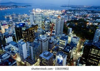 AUCKLAND, NZ - OCT 08 2013: Aerial View of Auckland CBD at night from the Sky Tower in Auckland New Zealand. Auckland is the largest Polynesian city in the world.