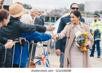 AUCKLAND, NZ - OCTOBER 30: The Duchess of Sussex (Meghan Markle) visiting Auckland's Viaduct Harbour during her first Royal Tour in New Zealand on October, 2018 in Auckland, New Zealand.