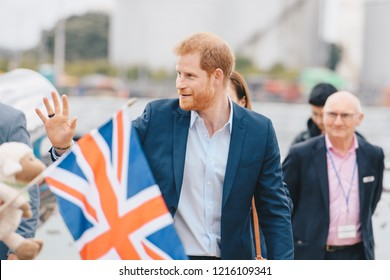 AUCKLAND, NZ - OCTOBER 30: Duke of Sussex (Prince Harry) visiting Auckland's Viaduct Harbour during his New Zealand tour on October, 2018 in Auckland, New Zealand.