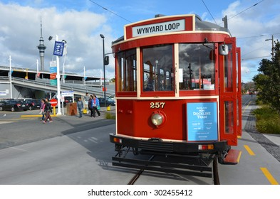 AUCKLAND,  NZL, AUG 01 2015:Auckland Dockline Wynyard Quarter Tram.The vintage tram currently runs on a newly built 1.5 km (0.93 mi) circuit in Wynyard Quarter close to downtown Auckland, New Zealand.