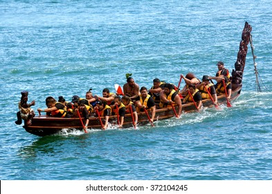 AUCKLAND, NZL - JAN 30 2016:Maori waka heritage sailing in Auckland, New Zealand. Maori watercraft, usually used for fishing and river travel and war canoes can reach up to 40 metres (130 ft) long.