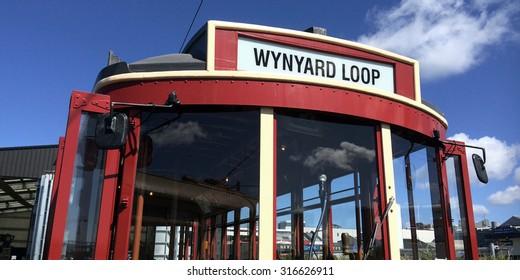 AUCKLAND,  NZL, SEP 12 2015:Auckland Dockline Wynyard Quarter Tram.The vintage tram currently runs on a newly built 1.5 km (0.93 mi) circuit in Wynyard Quarter close to downtown Auckland, New Zealand.