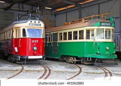 AUCKLAND - OCT 05 2016:W2 class tram in MOTAT, Auckland's Museum of Transport and Technology that exhibit the history of NZ transport, technology and Kiwi ingenuity.