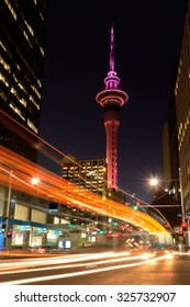 AUCKLAND - OCT 07 2015:Auckland Sky Tower at dusk.Auckland's Sky Tower celebrates 20's birthday. The Sky Tower has stood tall at 328 meters it is  an icon of Auckland's sky line since 1997.