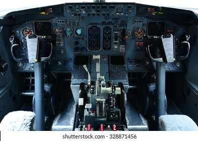 AUCKLAND - OCT 18 2015:Boeing 737 cockpit.It's the best-selling jet commercial airliner, continuously manufactured since 1967 with 8,725 aircraft delivered and 4,243 orders as of September 2015.