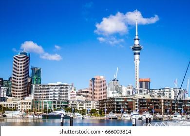 auckland, skyline in cbd, central harbour, urban landscape, new zealand