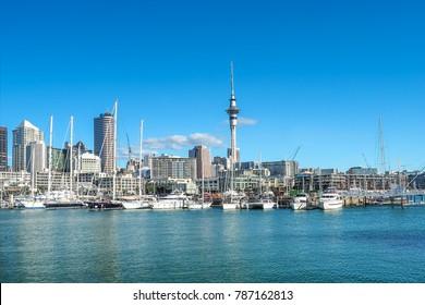Auckland skyline with the landmark, Sky Tower, in New Zealand.