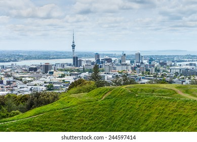 Auckland skyline looking from the top of Mount Eden, New Zealand