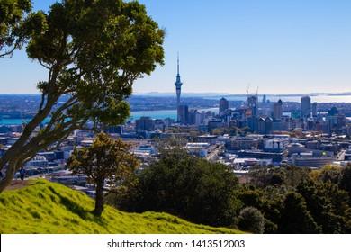 Auckland Skyline from Mt. Eden in Auckland, North Island, New Zealand