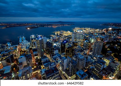 Auckland skyline night time view from Auckland Sky Tower in the capitol of New Zealand
