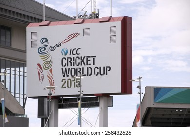 AUCKLAND-Mar.4: Entrance of ICC Cricket World Cup 2015 venue hosted by Australia and NZ where Cricket teams play ODI matches at Eden Park Stadium in Auckland, New Zealand on Wednesday, Mar. 4, 2015.