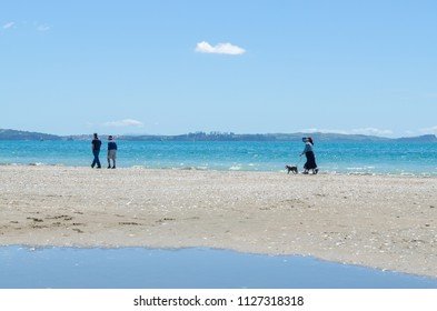 Auckland,New Zealand - November 7,2015 : Long Bay Regional Park in Auckland,New Zealand.People can seen exploring and relaxing around it.