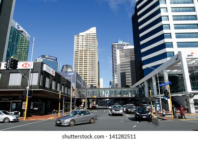 AUCKLAND,NZ - MAY 26:Traffic in Auckland downtown on May 26 2013.It's the largest and most populous urban area in NZ and It has 1,397,300 residents, which is 32 percent of the country's population.