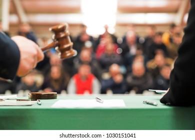 auction  bid sale judgment mallet gavel with public