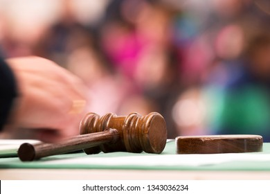 auction  bid sale judgment and mallet gavel with public