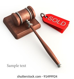 Auction gavel isolated on white High resolution 3D