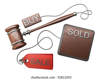 Auction gavel isolated on white background High resolution 3D
