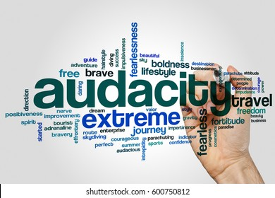 Audacity word cloud concept on grey background.