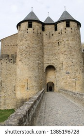 The Aude Gate of the Chateau Comtal in the fortified, medieval city of Carcassonne