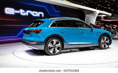 Audi e-tron 55 quattro electric SUV car at the Paris Motor Show. France - October 3, 2018