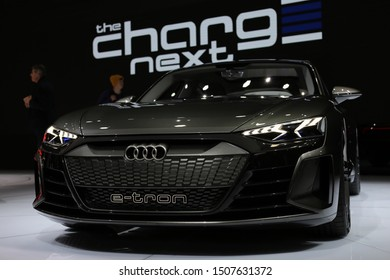 Audi e-tron GT Concept in Geneva International Motor Show (GIMS), Geneva Switzerland March 2019. 4-door electric coupe with 590 hp and range over 400km. Sporty, fast, modern and beautiful. Color image