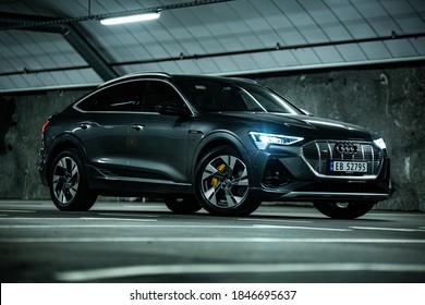Audi e-tron sportback photoshoot at underground parking. Spjelkavik, Norway 11.01.2020