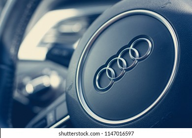 Audi logo on the steering wheel. Germany, Ludwigsburg, 27.06.2018