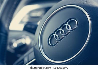Audi logo on the steering wheel. Germany, Ludwigsburg, 27.06.2018
