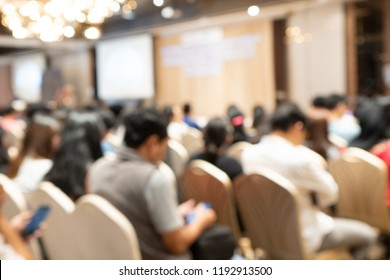 Audience in the Conference hell or Seminar meeting brainstorming and talking on the stage, ฺBusiness and education about investment concept