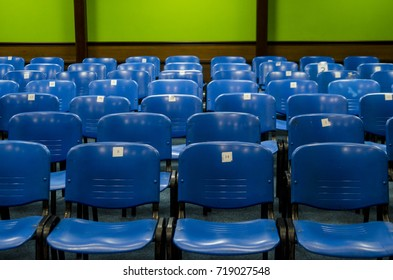 Audience in the conference room. Armchairs in the hall. Business and entrepreneurship.