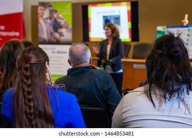 Audience in conference room. A view from behind attendees as a lady gives a business presentation in a professional training setting. Employees watch businesswoman present in office.