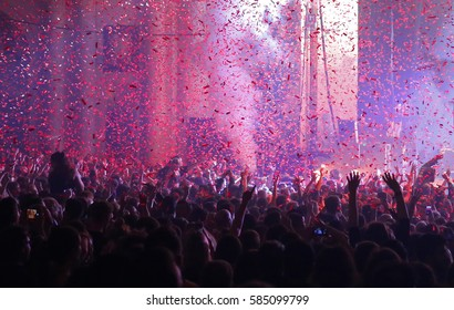 Audience and confetti at a live music gig