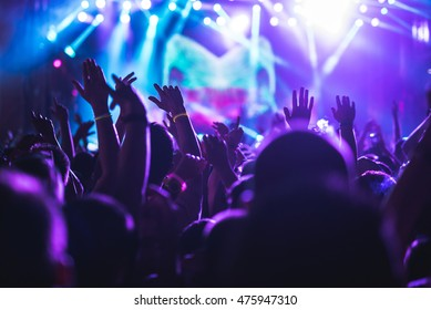 Audience enjoying a concert on a music festival.