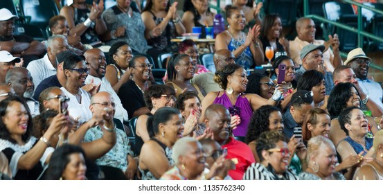 Audience members - at The Isley Brothers performs on stage- Saturday July 14th, 2018 at the Mable House Barnes Amphitheatre,  Metro Atlanta Georgia -USA