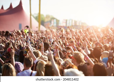 Audience At Outdoor Music Festival - Shutterstock ID 204811402