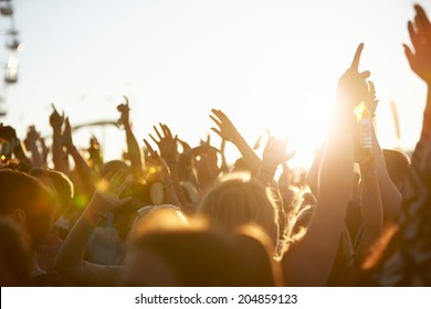 Audience At Outdoor Music Festival - Shutterstock ID 204859123