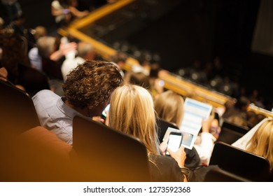 audience at the theater waiting for play to begin