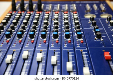 audio blue analog mixer used in the studio