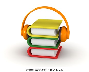 Audio Book Concept - 3D Books and Headphones