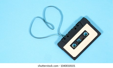 audio cassette on blue background